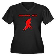 Red BMX Biker Silhouette (Custom) Plus Size T-Shir