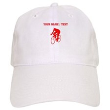 Red Cyclist Silhouette (Custom) Baseball Baseball Cap
