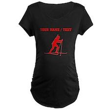 Red Biathlete Silhouette (Custom) Maternity T-Shir