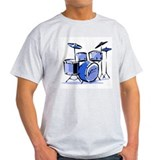 Drum Set Ash Grey T-Shirt (Blue)