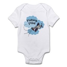 Future Pilot Airplane Cute Boy Baby bodysuit
