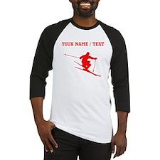Red Skier (Custom) Baseball Jersey