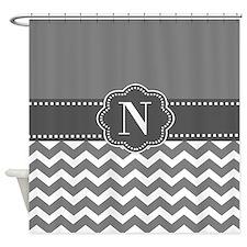 Gray White Chevron Personalized Shower Curtain
