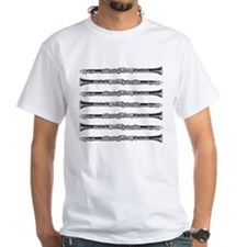 Clarinet Woodcut White T-shirt