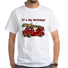 Fire Truck Birthday White T-shirt