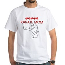 Proud Karate Mom White T-shirt