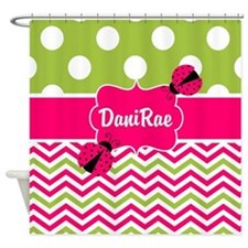 Pink Green Chevron Ladybug Personalized Shower Cur