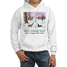 Snow Dachshunds Winter Message Hoodie