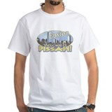 Boston Skyline Yellow Type White T-shirt