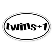 twins+1 Oval Bumper Stickers
