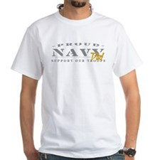 Proud Navy Dad (gold) White T-shirt
