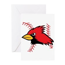 CARDINAL AND BASEBALL LACES Greeting Cards