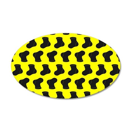 Yellow and Black Cute Little 35x21 Oval Wall Decal