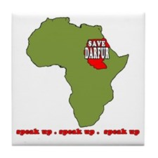 Speak Up to Save Darfur Tile Coaster