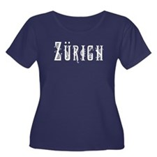 Zurich Women's Plus Size Scoop Neck Dark T-Shirt