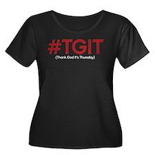 #TGIT Women's Plus Size Scoop Neck Dark T-Shirt