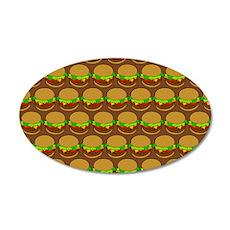Fun Yummy Hamburger Pattern 20x12 Oval Wall Decal