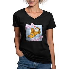 Lovable & Huggable Women's V-Neck Dark T-Shirt