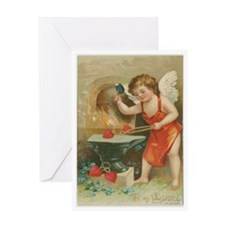 Cupid Making Hearts Greeting Cards