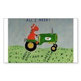 green tractor Rectangle Decal