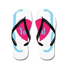 Personalizable Pink Turquoise Heart Flip Flops