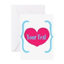 Personalizable Pink Turquoise Heart Greeting Cards
