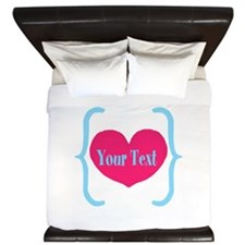 Personalizable Pink Turquoise Heart King Duvet