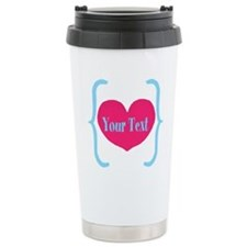 Personalizable Pink Turquoise Heart Travel Mug