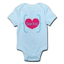 Personalizable Pink Turquoise Heart Body Suit