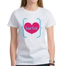 Personalizable Pink Turquoise Heart T-Shirt