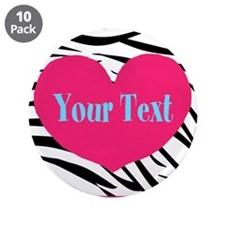 """Personalizable Pink Zebra 3.5"""" Button (10 pack)"""