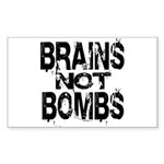 Brains not Bombs Rectangle Sticker