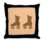 Brown Roller Skates Throw Pillow