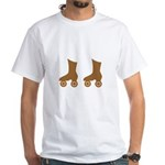 Brown Roller Skates White T-Shirt