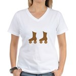 Brown Roller Skates Women's V-Neck T-Shirt