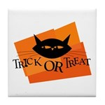 Trick or Treat Kitty Tile Coaster