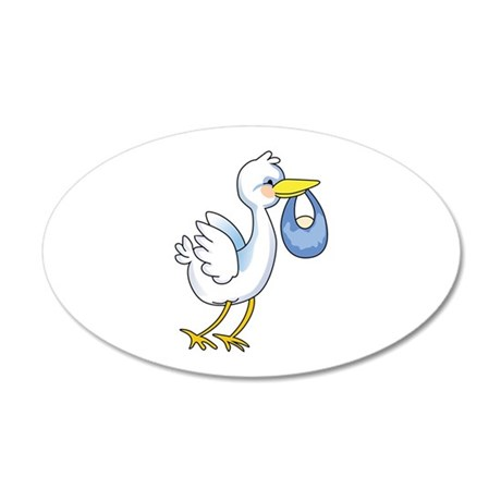 STORK WITH BABY BOY Wall Decal