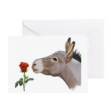 Mini donkey smelling a long stem red Greeting Card