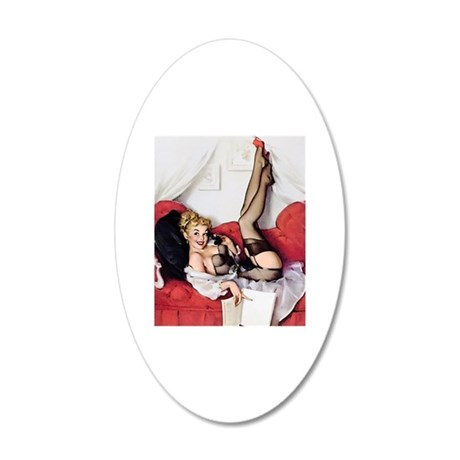 Vintage Pin-Up 20x12 Oval Wall Decal