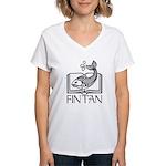 Fin Tan Rainbow Women's V-Neck T-Shirt