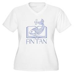 Fin tan lt blue line Women's Plus Size V-Neck T-Sh