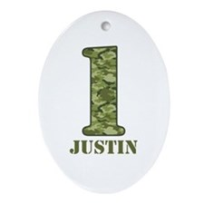 Green Camo 1st Birthday Ornament (Oval)