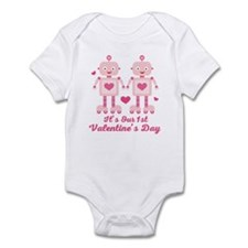Twin Girls Valentines Day Body Suit