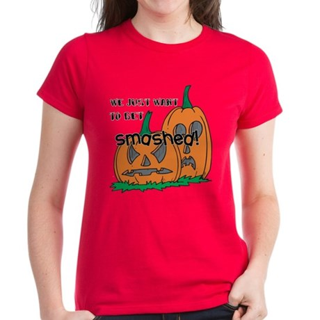 Halloween Smashed Pumpkins Women's Dark T-Shirt