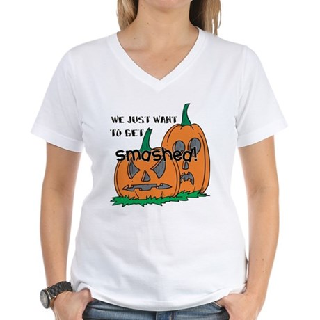 Halloween Smashed Pumpkins Women's V-Neck T-Shirt