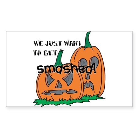 Halloween Smashed Pumpkins Rectangle Sticker