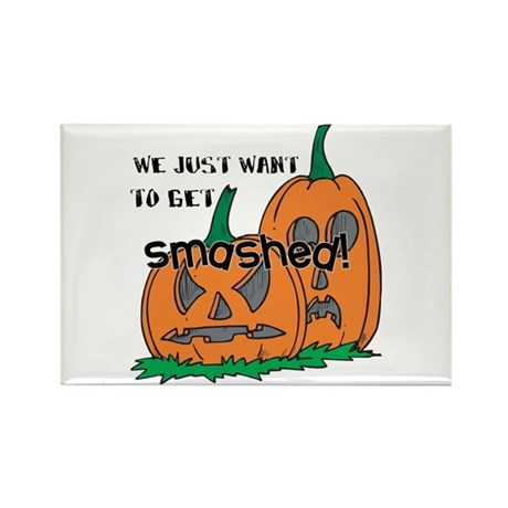 Halloween Smashed Pumpkins Rectangle Magnet (10 pa