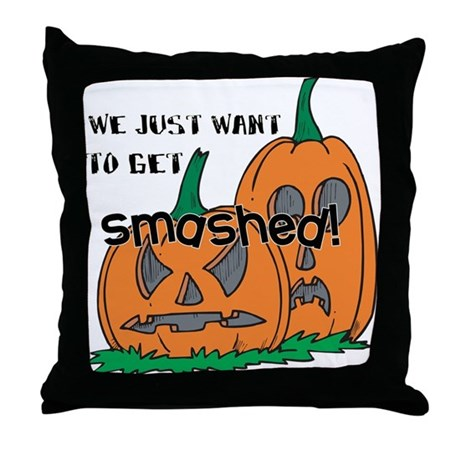 Halloween Smashed Pumpkins Throw Pillow