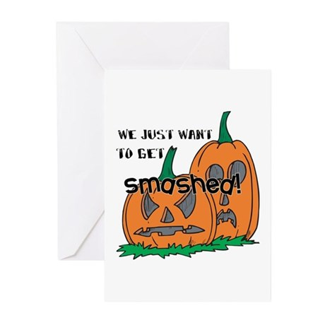 Halloween Smashed Pumpkins Greeting Cards (Pk of 1