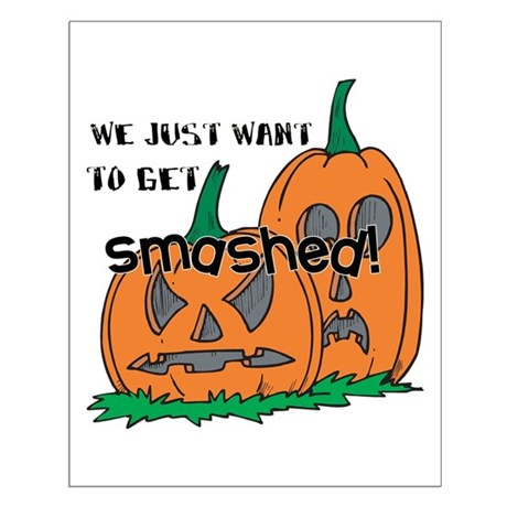 Halloween Smashed Pumpkins Small Poster